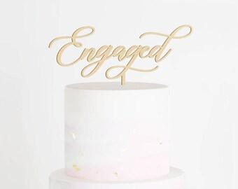 SALE - Engaged Cake Topper, Engagement Cake Topper, We're Engaged Cake Topper, Engagement Party Decor, Bridal Shower Cake Topper, Engaged