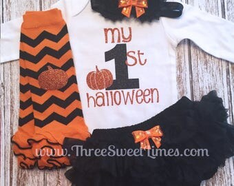 My First Halloween Girl Outfit My 1st Boo Personalized Baby girl clothes Opt Leg Warmers Headband Tutu Bloomers Orange Black Chevron Glitter