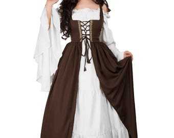 Renaissance Medieval Irish Costume Truffle Over Dress Fitted Bodice S/M