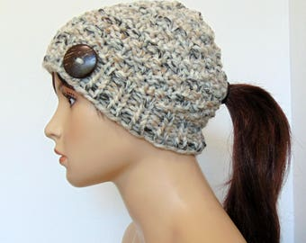 Chunky Knit Ponytail Hat Beanie Brown Ivory Taupe Pony Tail Hole Women's Teens Alaskan Made Sandstone Fall Gift