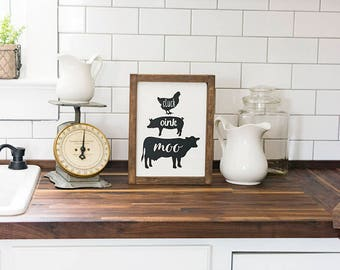 Farmhouse Kitchen Decor- Oink Cluck Moo Sign- Farmhouse Housewarming Gift- Rustic Kitchen Decor Farmhouse Style Farmhouse Sign Country Decor