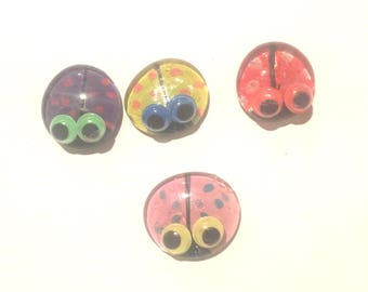Polka Dot Bug Glass  Flat Dome Marble Magnets with Colored Googely Eyes Hand Painted