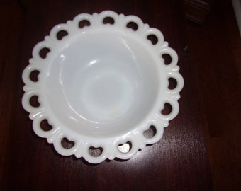 Vintage milk glass lace edge bowl by Anchor Hocking