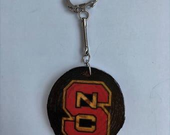 Wooden NC State keychain