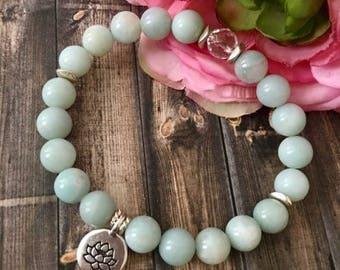 Amazonite Crystal Quartz Silver Lotus Yoga Bracelet