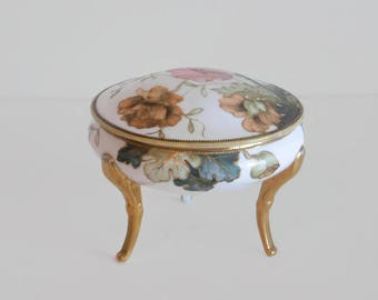 Vintage Hand-Painted Nippon Three Footed Lidded Floral Trinket Dish - Vintage Nippon, Porcelain, Hand-Painted China, Vintage Home Decor