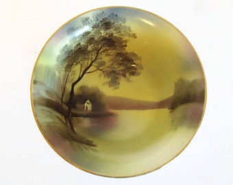 Vintage Porcelain Noritake Bowl With Hand Painted Country Scene, Signed Noritake, Japan -  Vintage Noritake China, Hand-Painted China
