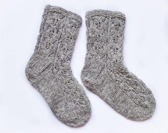 Knitted lace socks, gray lace wool socks, hand knitted socks, US 9, UK 7, EU 40, womens wool socks, gray knitted socks, womens lace socks