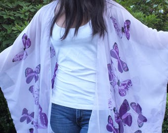 Purple Butterflies Boho Tunic Swimsuit Cover Floral Print Thin Sheer Duster Caftan Kimono Top Cardigan Onesize SML Plus Size