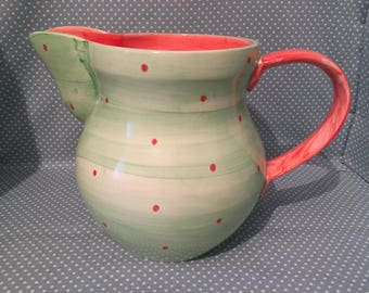 Perfect over sized Holdenby Pottery Mad Hatters Tea Party jug by Suzanne Katkhuda.  - FREE UK POST -