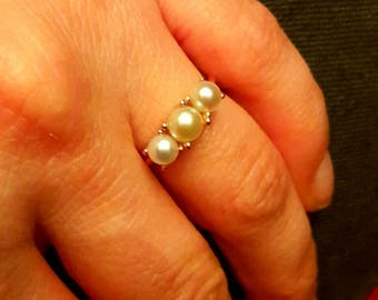 Pearl Ring-3 Stone Pearl Ring-Gold Ring-925K Silver Handmade Fresh Water Pearl Ring