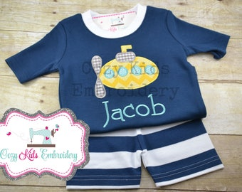 Summer Pajamas, Vacation Pajamas, Beach Pajamas, Boy's Pajamas, Submarine Pajamas, Custom Pajamas, Embroidery Pajamas, Applique Pajamas