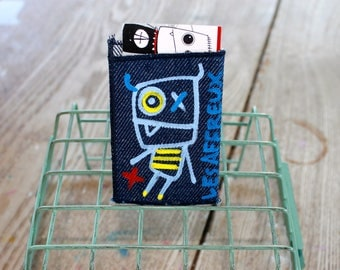 Business card holder, made and hand painted, unique, practical, the creepy, textile accessory
