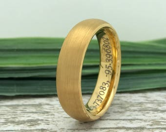 6mm Gold Plated Tungsten Ring, Engraved Wedding Date Ring, Roman Numeral Ring, Coordinates Ring, Custom Promise Ring for Him, Purity Ring