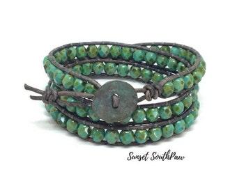 Turquoise Picasso Wrap Bracelet, Double Wrap, Beaded Bracelet, Boho Wrap, Turquoise Bracelet, Picasso Jewelry, Beaded Wrap Bracelet, Beach