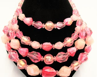 West Germany Pink Lucite Nugget Necklace - 4 Strand  Bib Necklace - Pink Rounded and Faceted Nugget Necklace - 1950 Multi Strand Necklace