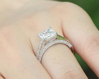 2.06 ctw (7mm) Princess Cut Engagement Ring - Solitaire Engagement Ring, Princess Promise Ring, Wedding Ring, Diamond Simulant CZ ring