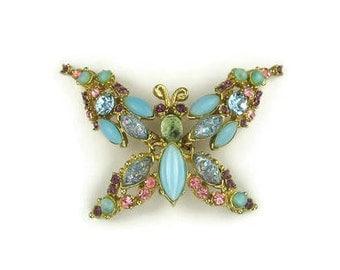 Rhinstone Trembler Butterfly Brooch