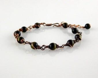 Tiger's Eye Bracelet, Copper Bracelet, Wire Wrapped Bracelet, Gift for her, Handmade Jewelry, Copper Jewelry, Stone Bracelet