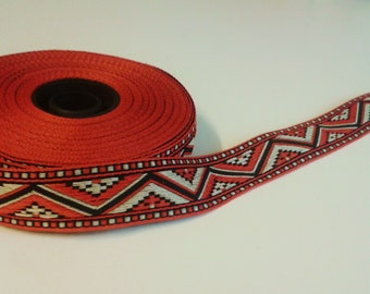 Vintage red and white stripe Aztec pattern by the yard