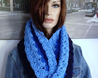 Handmade Scarf, Denim Blue Ombre Scarf Infinity Scarf for Her, Extra Thick Chunky Cowl for Winter, READY TO SHIP