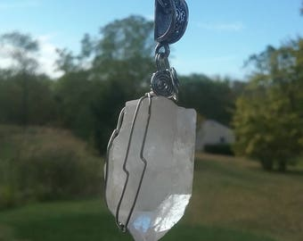 Large Quartz Crystal Necklace,Crystal Pendant, Gypsy Necklace, Wiccan Pagan Jewelry, Shaman Necklace, Healing Crystals