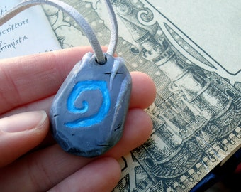 Winter themed hearthstone necklace, glow in the dark