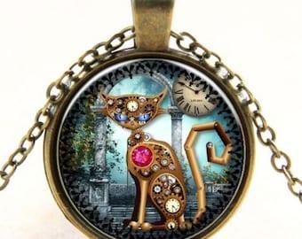 Steampunk cat gear Glass Cabochon bronze chain pendant necklace