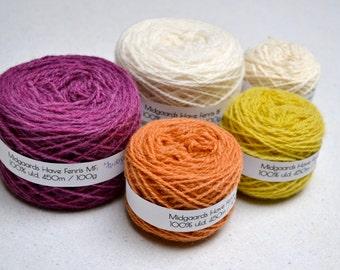 Naturally Dyed Folkvang Knitting Kit - deep pink, tan, yellow