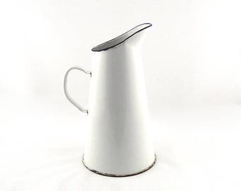 French Vintage White Enamel Jug - Antique Enamelware Wash Pitcher