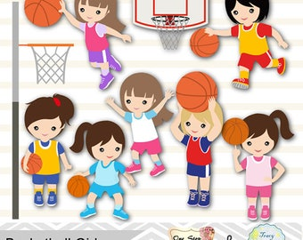 Digital Girls Basketball Clipart, Girl Basketball Digital Clip Art, Sport Clipart, Girls Sport Digital Clip Art, Sport Girls Clipart 0258