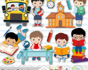 Digital Back to School Clip Art, School Day Clipart, Boys Back to School Clipart, Boys School Day Clipart, School Boy Clip Art 00243