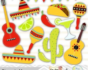 Digital Mexican Fiesta Clip Art, Cinco de Mayo Digital Clipart, Digital Mexican Party Clip Art, Sombrero, cactus, guitar, pinata, taco 00177