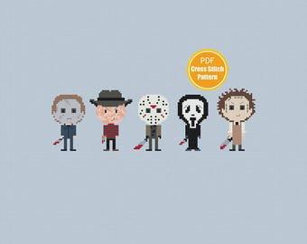 Horror Movie Cross stitch Pattern - Slasher Killers - Jason Michael Myers Freddy Krueger - PDF Instant Download