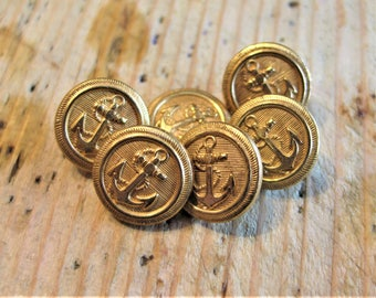 Vintage, Nautical Military Buttons, Set of 6