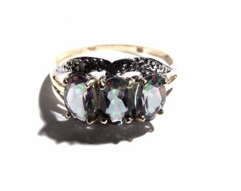 Set of 3 natural 1.5 Mystic Topaz gold ring Carats and 2 diamond