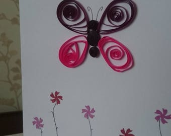 A5 quilled butterfly card. purple card perfect for birthdays with envelope.