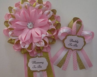 Pretty in Pink & Gold Baby Shower Mommy and Daddy to Be Corsage Set