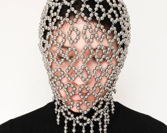 Face Mask, Face Jewelry, Silver Couture Mask