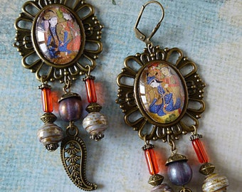 "Earrings ""Hindustan"" inspiration India, illustrated cabochons, Czech glass, bronze metal filigree"