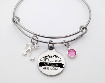 Not All Who Wonder Are Lost Bracelet, Quote Jewelry, Stainless Steel Bangle, Graduation Gift for Her, Wanderlust Bracelet, Traveller Gift