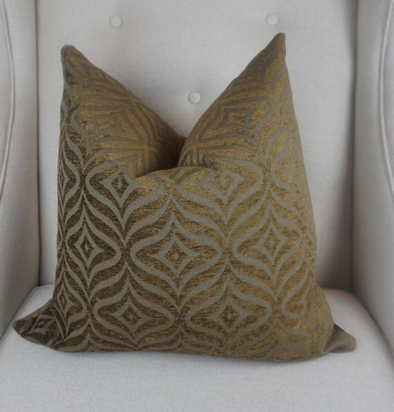 Brown Gold Chenille Pillow Cover, Chenille Throw Pillow, Decorative Cushion Cover, Housewares Decor, Home Living, 00303