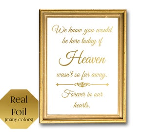 Heaven so far away forever in our hearts, memorial sign, wedding remembrance sign, Wedding signage, In Memory Of, remembering a loved one