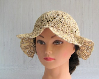 Cotton beanie - Sun beanie - Knitted panama hat - Girl crochet hat - Summer hat - Lightweight hat  - Suns hat - Gift for her - Made to order