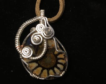 Sterling silver wire and ammonite pendant