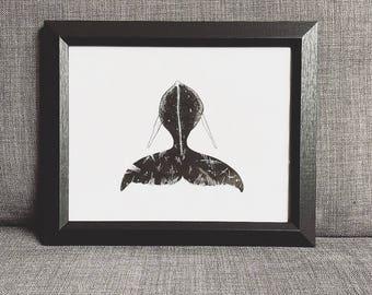 Humpback Whale Fluke Printable Art | Megaptera Novaeangliae | Digital Download | Whale Art | Pointillism