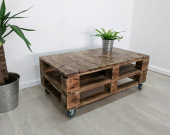 industrial looking furniture. lemmik industrial pallet coffee table in roast finish made of reclaimed wood looking furniture s