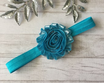 turquoise headband, blue headband, newborn headband, baby headband, baby girl headband, toddler gift, silver headband, silver headpiece, bow