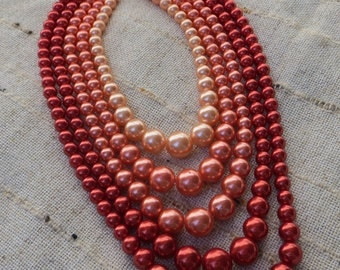 Dramatic Vintage Red Toned 5-Strand Vintage Bead Necklace