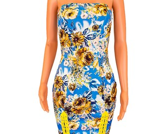 Floral Sexy Lace Thigh Knee Length Bodycon Fitted Dress - Blue - Yellow